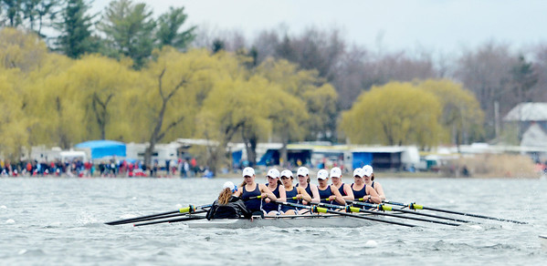 Erica Miller @togianphotog - The Saratogian:    On Sunday April 27th, 2014, on Saratoga Lake, Saratoga Rowing Association held the Saratoga Invitational as Saratoga's made it through on the Race 72a in the Women's 2v Eight.
