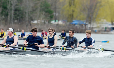 Erica Miller @togianphotog - The Saratogian:    On Sunday April 27th, 2014, on Saratoga Lake, Saratoga Rowing Association held the Saratoga Invitational as Saratoga's made it through on the Race 74b in the Men's 2v Eight.
