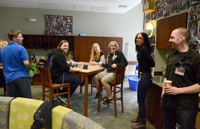 Ed Burke - The Saratogian 04/05/14 Young Adult Librarians Sarah Derven and Trevor Oakley welcome teens to their new room Saturday at Saratoga Springs Public Library.