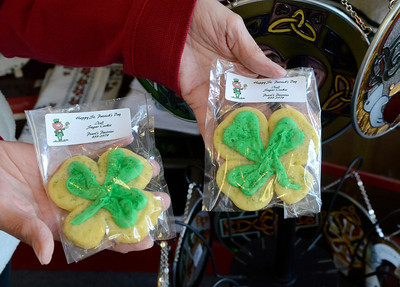 Ed Burke - The Saratogian 03/13/14 Shamrock sugar cookies from Pearl's Pastries in Greenfield Center for sale at Celtic Treasures on Broadway.
