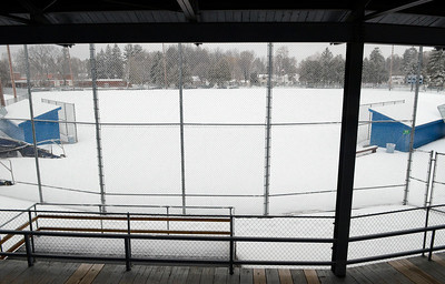 Ed Burke - The Saratogian 03/12/14 All fields at East Side Rec Park, including the high school's varsity field shown here, will remain snow-covered until warmer weather arrives.