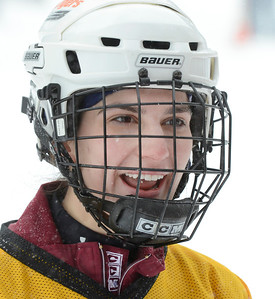 Ed Burke - The Saratogian 01/25/14 Becky Jaiven of Schenectady suits up for team Lucky Puck Saturday during the Saratoga Frozen Springs Classic Hockey Tournament at Saratoga Spa State Park.