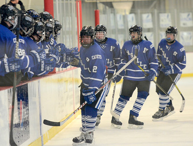 Ed Burke - The Saratogian 01/22/14  La Salle's Chris Hunt (2) slaps five with teammates after the first of his two goals in the first period against Saratoga at Saratoga.