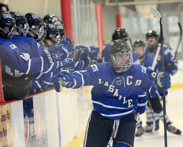 Ed Burke - The Saratogian 01/22/14  La Salle's Joe O'Bryan is all smiles after scoring against Saratoga Wednesday at Saratoga.