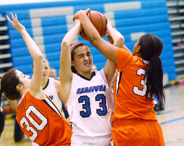 Ed Burke - The Saratogian 01/23/14 Saratoga's Maddie Klotz is pressured by Mohonasen's Quinn Roderick (30) and Saeeda Abdul-Aziz during Thursday's girls' varsity basketball matchup at Saratoga.