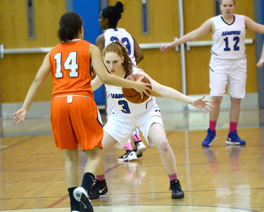 Ed Burke - The Saratogian 01/23/14 Saratoga's Camryn David guards Mohonasen's Elizabeth Brown during Thursday's girls' varsity basketball matchup at Saratoga.