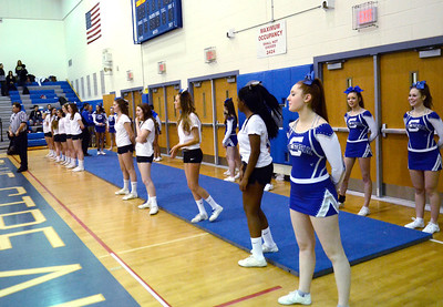 Ed Burke - The Saratogian 02/11/14 Saratoga Blue Streak cheerleaders cheer on their team during Tuesday's game against Ballston Spa at Saratoga.