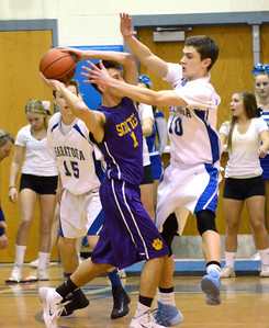 Ed Burke - The Saratogian 02/11/14 Saratoga's Noah Arciero pressures Ballston's Jeremy Mendrick during Tuesday's game at Saratoga.