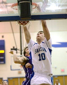 Ed Burke - The Saratogian 02/11/14 Saratoga's Noah Arciero dunks for two after a feed from teammate Chris Byno during Tuesday's game versus Ballston Spa at Saratoga.