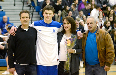 Ed Burke - The Saratogian 02/11/14 Saratoga's Noah Arciero stands with parents Karen and Paul and grandfather John Mendes during Senior Night at Tuesday's game versus Ballston Spa at Saratoga.