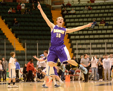 Ed Burke - The Saratogian 02/26/14 Saratoga Central Catholic's Brian Hall literally jumps for joy after the Saints beat Lake George during Wednesday's Class C semi-final at the Glens Falls Civic Center.