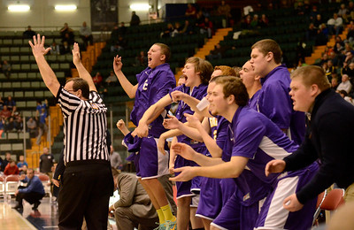 Ed Burke - The Saratogian 02/26/14 Saratoga Central Catholic celebrates after Brian Hall's three-pointer tied Lake George during Wednesday's Class C semi-final at the Glens Falls Civic Center.