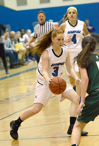 Ed Burke - The Saratogian 12/13/13 Saratoga's Camryn David moves the ball against Shen during Friday's game at Saratoga.