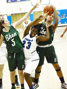 Ed Burke - The Saratogian 12/13/13 Saratoga's Dominique Managault loses a battle for a rebound to Shen's Sydney Quinn (15) and Erin Hulbert during Friday's game at Saratoga.