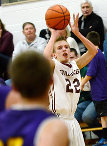 Ed Burke - The Saratogian 12/27/13 Stillwater's Mitchell Wayand shoots from outside during Friday's action in Saratoga Central Catholic's Christmas basketball tournament.