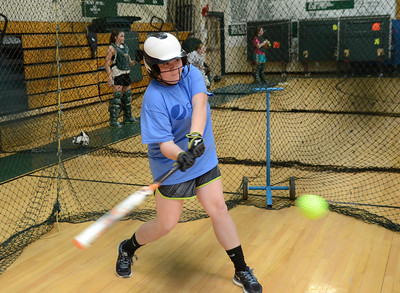 Ed Burke - The Saratogian 04/02/14 Greenwich's Kali Nolan practices with the team Wednesday in the school's gym.