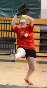Ed Burke - The Saratogian 04/02/14 Greenwich pitcher Rachel Hall practices with the team Wednesday in the school's gym.