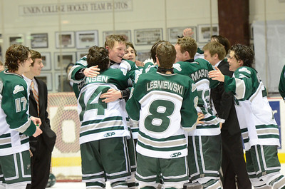 Ed Burke - The Saratogian 02/25/14 Shen celebrates Tuesday's Section II victory over Saratoga at Union College.