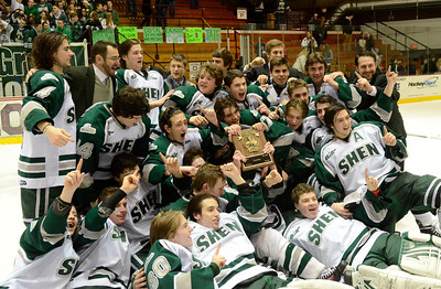 Ed Burke - The Saratogian 02/25/14 Shenendehowa celebrates their Section championship victory over Saratoga Tuesday at Union College.