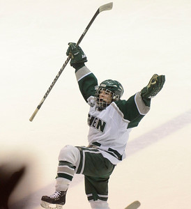Ed Burke - The Saratogian 02/25/14 Shen's Ryan Mortka celebrates his 1st period goal over Saratoga at Union College.