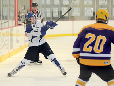 Ed Burke - The Saratogian 02/19/14 Saratoga's Max Liebers takes a shot during sectional action Wednesday against CBA in Saratoga.