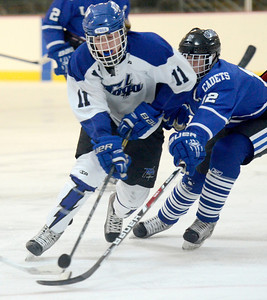 Ed Burke - The Saratogian 02/21/14 Saratoga's Max Liebers is challenged by La Salle's Ben Gardenier during Friday's playoff matchup in Saratoga.