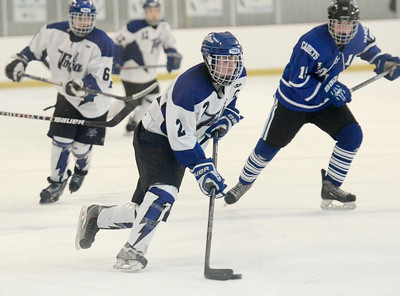 Ed Burke - The Saratogian 02/21/14 Saratoga's Matt Klingbeil moves the puck against La Salle during Friday's playoff matchup in Saratoga.