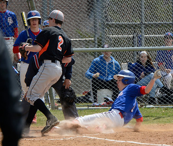 Ed Burke - The Saratogian 04/19/14  Broadalbin-Peth's Jeremiah Horton is safe at home during Saturday's game at Schuylerville.