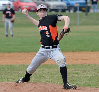 Ed Burke - The Saratogian 04/19/14 Schuylerville's Matt Saddlemire pitches against Broadalbin-Perth during Saturday's game at Schuylerville.