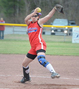 Ed Burke - The Saratogian 04/29/13 South High's Amber Bourdeau pitches against Queensbury during Tuesday's game at Moreau Rec Park.