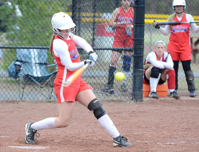 Ed Burke - The Saratogian 04/29/13 South High's Brooke Snyder gets a base hit against Queensbury during Tuesday's game at Moreau Rec Park.