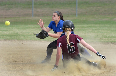 Ed Burke 04/25/14 Burnt Hills-Ballston Lake's Lilly Maggs is safe at 2nd as Saratoga's Erinn Mangona waits for the throw during Friday's varsity softball matchup at Veterans Memorial Park.