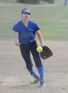 Ed Burke 04/25/14 Saratoga's Erica Varsames pitches during Friday's varsity softball matchup against Burnt Hills at Veterans Memorial Park.