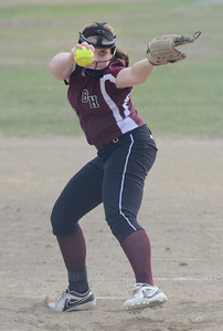 Ed Burke 04/25/14 Burnt Hills-Ballston Lake's Ashley Agan pitches during Friday's varsity softball matchup versus Saratoga at Veterans Memorial Park.