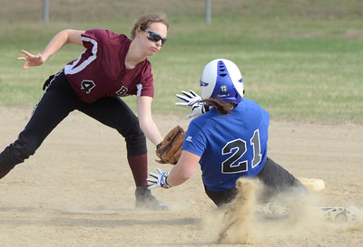 Ed Burke 04/25/14 Burnt Hills-Ballston Lake's Erin Sgambelluri gets the out at 2nd on Saratoga's Erinn Mangona during Friday's varsity softball matchup at Veterans Memorial Park.