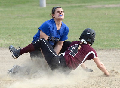 Ed Burke 04/25/14 Burnt Hills-Ballston Lake's Erin Sgambelluri is out at second after being tagged by Saratoga's Erinn Mangona during Friday's varsity softball matchup at Veterans Memorial Park.
