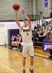 Ed Burke - The Saratogian 02/19/14 Saratoga Central Catholic's Luke Spicer hits for three during Wednesday's Sectional matchup against Hadley-Luzerne.