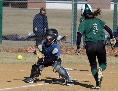 Ed Burke - The Saratogian 04/09/14 Shen's Kelly O'Gorman is safe at home as the throw comes late to Saratoga catcher Sara Willner-Giwerc during Wednesday's game at Shen.