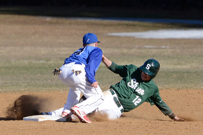Ed Burke - The Saratogian 04/09/14 Saratoga's Nick Kondo gets the out at second on Shen's Kyle McAlonie during Wednesday's game at Shen.