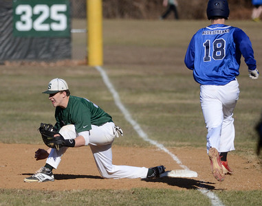 Ed Burke - The Saratogian 04/09/14 Shen's John Novenche gets the out at first on Saratoga's Jack Herman during Wednesday's game at Shen.