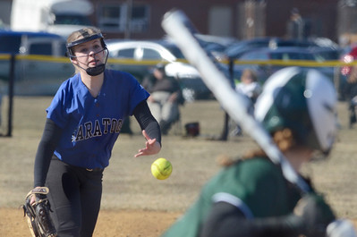 Ed Burke - The Saratogian 04/09/14 Saratoga pitcher Kristi Burgess throws during Wednesday's matchup against Shenendehowa in Clifton Park.