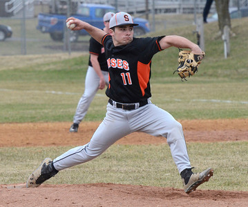 Ed Burke - The Saratogian 04/11/13 Schuylerville's Jake Petralia throws against Tamarac Friday at Schuylerville.