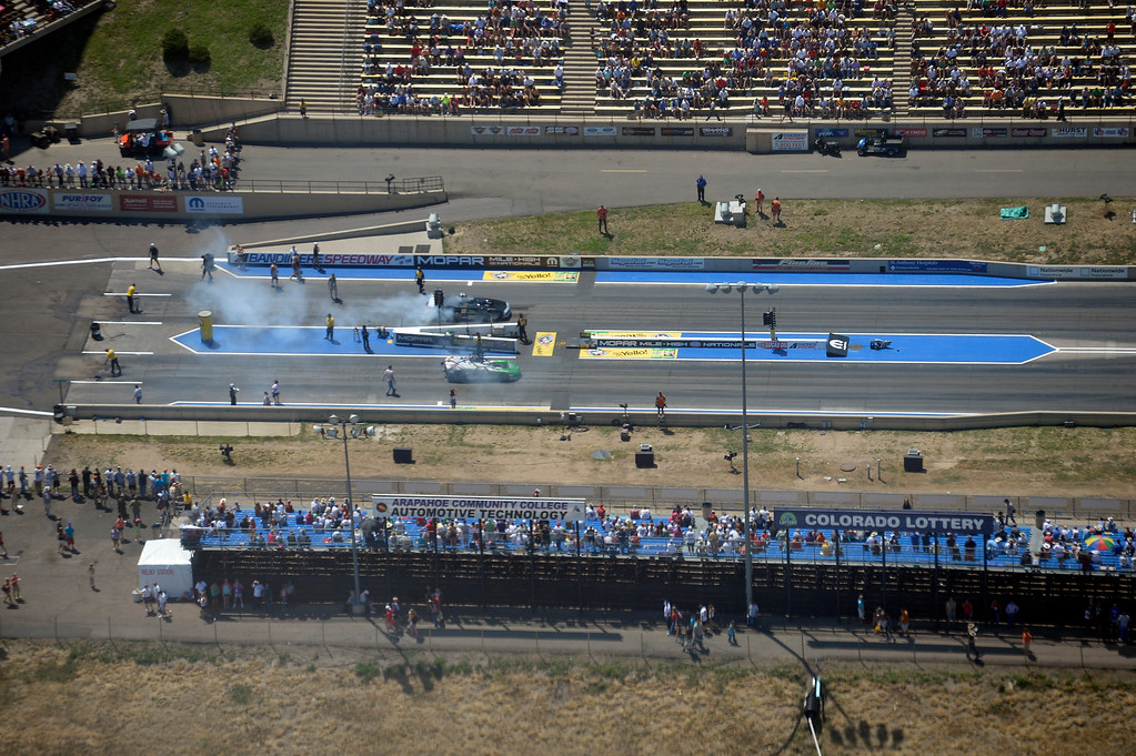 . Birds eye view of the starting line at Bandimere from 600ft in air aboard Flight for Life during the Mopar Mile-High NHRA Nationals July 21, 2013 at Bandimere speedway in Morrison. (Photo By John Leyba/The Denver Post)