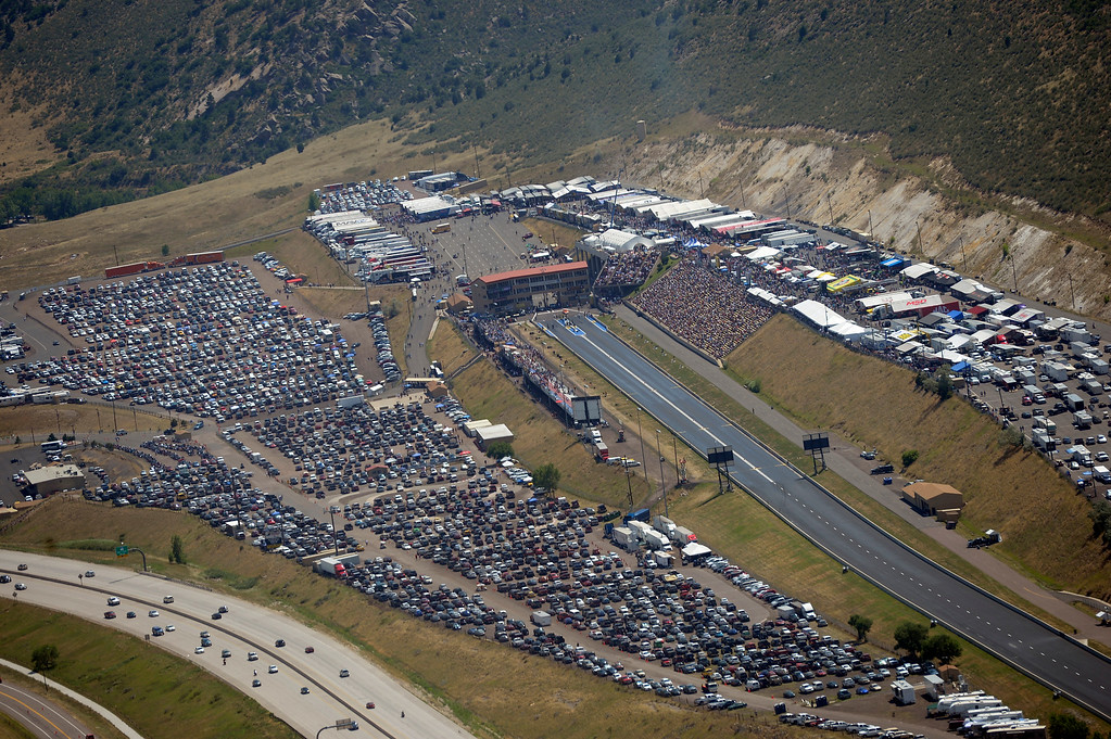 . Birds eye view of Bandimere from 600ft in air aboard Flight for Life during the Mopar Mile-High NHRA Nationals July 21, 2013 at Bandimere speedway in Morrison. (Photo By John Leyba/The Denver Post)
