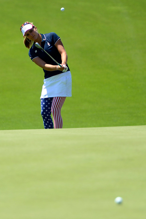 . Lexi Thompson hits during a practice round for the Solheim Cup. The United States has never lost on a home course. (Photo by AAron Ontiveroz/The Denver Post)