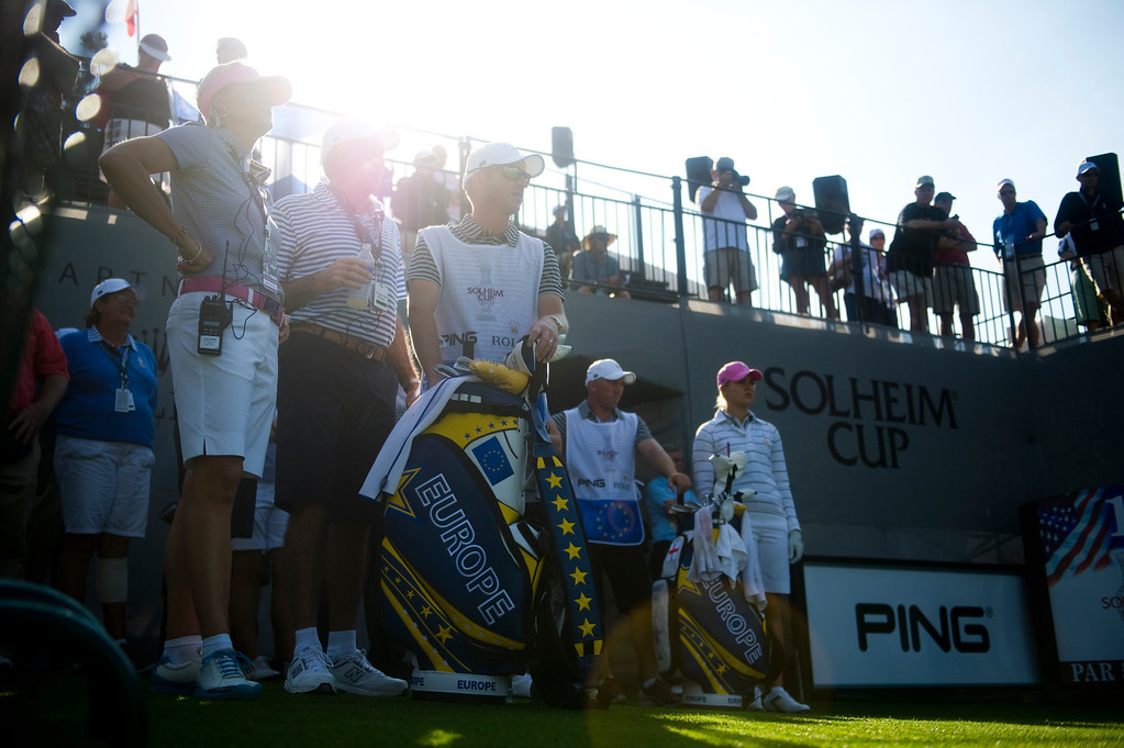 . Members of the European team prepare for the first hole of the day during a practice round for the Solheim Cup at Colorado Golf Club on August 14, 2013. (Photo By Grant Hindsley/The Denver Post)