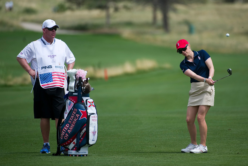. Morgan Pressel approaches the green on the sixteenth hole during a practice round for the Solheim Cup at the Colorado Golf Club on Tuesday, August 13, 2013. The American and European Teams practiced Tuesday morning. (Photo By Grant Hindsley/The Denver Post)