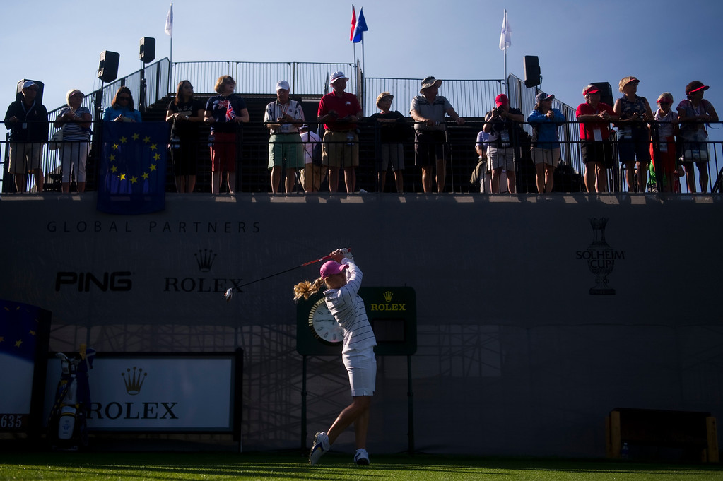 . European Charley Hull hits her first stroke of the day during a practice round for the Solheim Cup at Colorado Golf Club on August 14, 2013. (Photo By Grant Hindsley/The Denver Post)