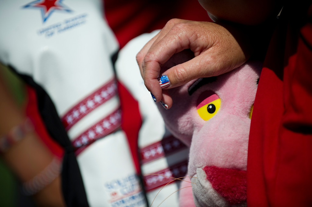 . American Paula Creamer rests her hand on her bag before teeing off the fifteenth hole during a practice round for the Solheim Cup at Colorado Golf Club on August 14, 2013.  (Photo By Grant Hindsley/The Denver Post)