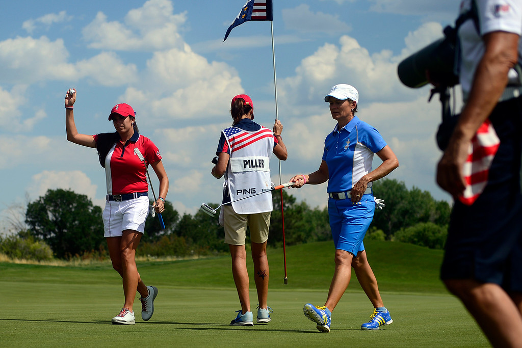 . Gerina Pillar reacts to winning the sixth hole over Catriona Matthew during a practice round for the Solheim Cup. A win marks the first time the Europeans have won the competition in the United States. (Photo by AAron Ontiveroz/The Denver Post)